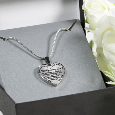 TO MY DAUGHTER - NEVER FORGET - DADDY LOVES YOU - SILVER FINISHED (BLACK ON TRANSPARENT) HEART SHAPED NECKLACE - podprintz.com