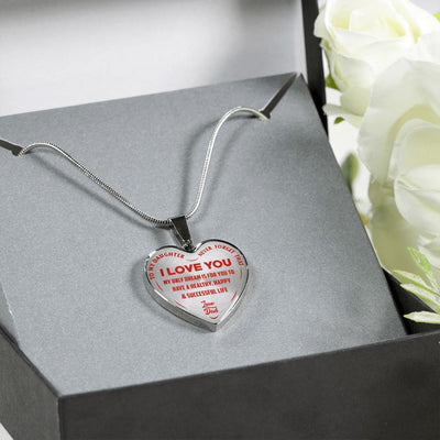 TO MY DAUGHTER MY ONLY DREAM, SILVER FINISHED HEART SHAPED NECKLACE (RED TEXT ON TRANSPARENT) - podprintz.com