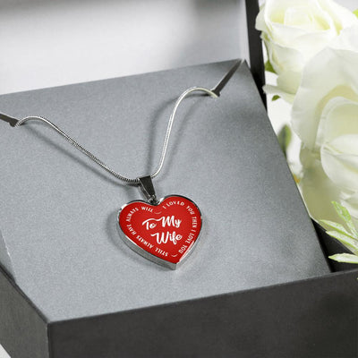 TO MY WIFE (WHITE TEXT ON RED) SILVER OR GOLD FINISHED HEART SHAPED NECKLACE - podprintz.com