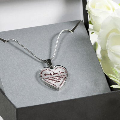 TO MY DAUGHTER, DADDY LOVES YOU - (DARK RED ON TRANSPARENT) SILVER FINISHED HEART NECKLACE - podprintz.com