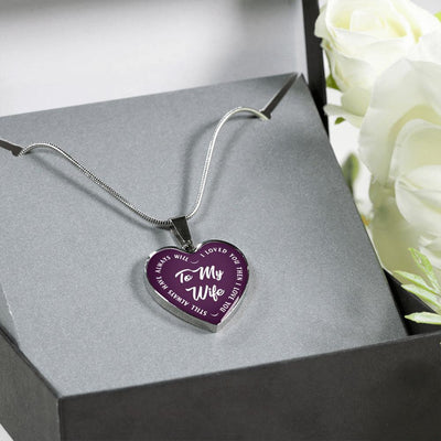 TO MY WIFE (WHITE TEXT ON PURPLE) SILVER OR GOLD FINISHED HEART SHAPED NECKLACE - podprintz.com