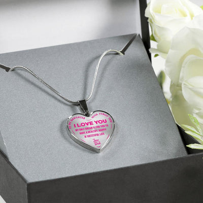 To My Daughter My Only Dream, Silver Finished Heart Shaped Necklace (Pink on Transparent) - podprintz.com