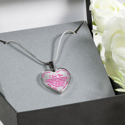 TO MY DAUGHTER - NEVER FORGET - DADDY LOVES YOU - SILVER FINISHED (PINK ON TRANSPARENT) HEART SHAPED NECKLACE - podprintz.com