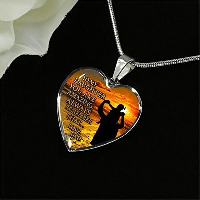 To My Daughter, You Are Amazing (Dad's Shoulders) - Silver Finished Heart Necklace - podprintz.com