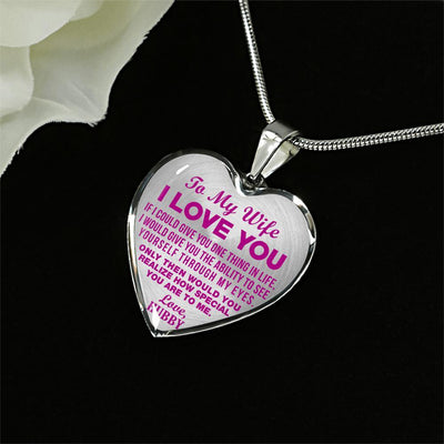 TO MY WIFE - I LOVE YOU - (HOT PINK ON TRANSPARENT) - SILVER FINISHED NECKLACE - podprintz.com