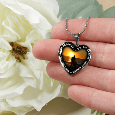 My Daughter, You are Amazing, Silver or Gold Finished Heart Shaped Necklace (Sunset Beach Sand Edition) - podprintz.com