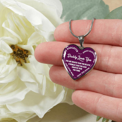 MY DAUGHTER, DADDY LOVES YOU - (PURPLE & WHITE TEXT) SILVER FINISHED HEART NECKLACE - podprintz.com