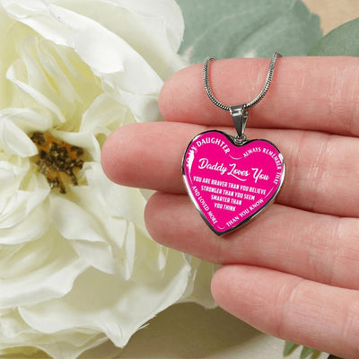 MY DAUGHTER, DADDY LOVES YOU - (PINK & WHITE TEXT) SILVER FINISHED HEART NECKLACE - podprintz.com