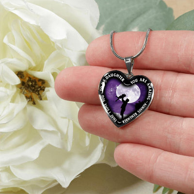 My Daughter, You are Amazing, Silver or Gold Finished Heart Shaped Necklace (Purple Sky Moon Edition) - podprintz.com