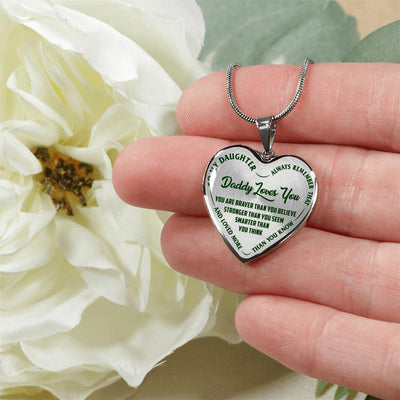 MY DAUGHTER - DADDY LOVES YOU - SILVER FINISHED HEART NECKLACE (GREEN ON TRANSPARENT) - podprintz.com