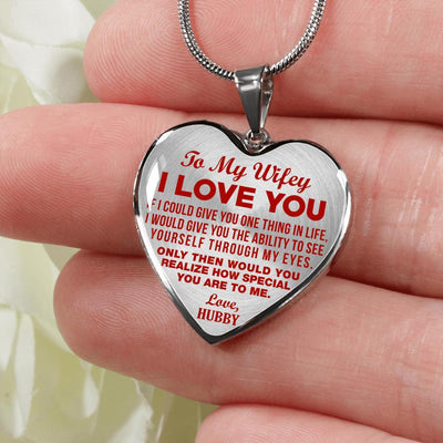 TO MY WIFEY - I LOVE YOU - (RED ON TRANSPARENT) - SILVER FINISHED HEART NECKLACE - podprintz.com