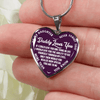 My Daughter, Never Forget, Daddy Loves You Silver or Gold Finished Necklace (White on Purple) - podprintz.com