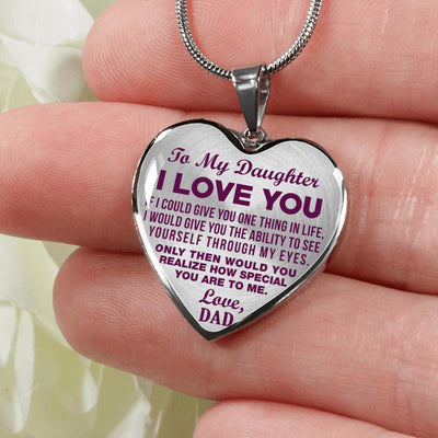 TO MY DAUGHTER, ONE THING, LOVE DAD (PURPLE ON TRANSPARENT) - SILVER FINISHED HEART NECKLACE - podprintz.com