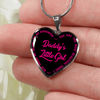 Daddy's Little Girl Gold or Silver Finished Heart Shaped Necklace (Pink on Black) - podprintz.com
