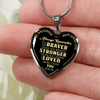 To Daughter Love Dad, Braver Stronger Loved Silver or Gold Finished Heart Shaped Necklace (Gold on Black) - podprintz.com