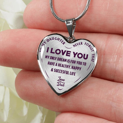 To My Daughter My Only Dream, Silver Finished Heart Shaped Necklace (Purple on Transparent) - podprintz.com