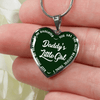 Daddy's Little Girl Gold or Silver Finished Heart Shaped Necklace (White on Green) - podprintz.com