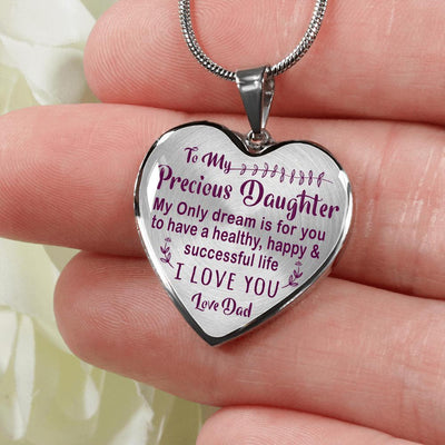 TO MY PRECIOUS DAUGHTER - (PURPLE ON TRANSPARENT) SILVER FINISHED HEART NECKLACE - podprintz.com