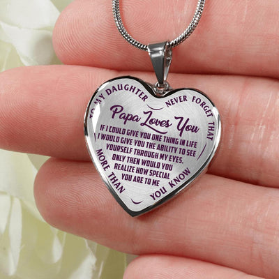 TO MY DAUGHTER - NEVER FORGET - PAPA LOVES YOU - (PURPLE ON TRANSPARENT) SILVER FINISHED HEART SHAPED NECKLACE - podprintz.com