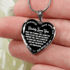 I'll Always Be There, Daddy Loves You, Silver or Gold Heart Shaped Necklace (White on Black) - podprintz.com