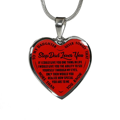 To My Daughter, Step Dad Loves You Silver or Gold Finished Necklace (Black on Red) - podprintz.com