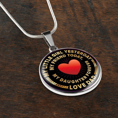 My Little Girl Forever, Love Dad (Yellow Text) - Silver Finished Circle Necklace - podprintz.com