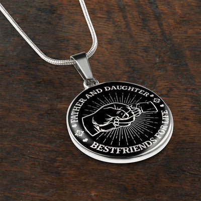Father Daughter Fist Bump Best Friends - Silver Finished Circle Necklace - podprintz.com