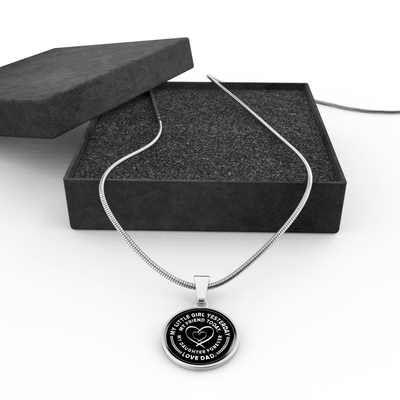 My Little Girl Forever, Love Dad (Silver Ribbon Heart) - Silver Finished Circle Necklace - podprintz.com
