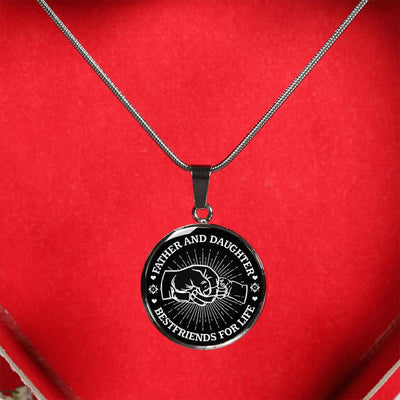 FATHER DAUGHTER FIST BUMP BEST FRIENDS - (BLACK & WHITE) SILVER FINISHED CIRCLE NECKLACE - podprintz.com