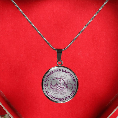 FATHER DAUGHTER FIST BUMP BEST FRIENDS - (PURPLE ON TRANSPARENT) SILVER FINISHED CIRCLE NECKLACE - podprintz.com