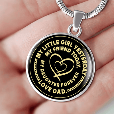 My Little Girl Forever, Love Dad (Yellow Ribbon Heart) - Silver Finished Circle Necklace - podprintz.com