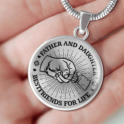 FATHER DAUGHTER FIST BUMP BEST FRIENDS - (BLACK ON TRANSPARENT) SILVER FINISHED CIRCLE NECKLACE - podprintz.com