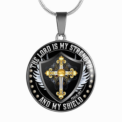 The Lord is my Strength and my Shield - Silver Finished Circle Necklace - podprintz.com
