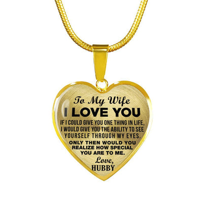 TO MY WIFE - I LOVE YOU - (BLACK ON TRANSPARENT) - GOLD FINISHED NECKLACE - podprintz.com