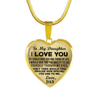 TO MY DAUGHTER, ONE THING, LOVE DAD (BLACK ON TRANSPARENT) - GOLD FINISHED HEART NECKLACE - podprintz.com