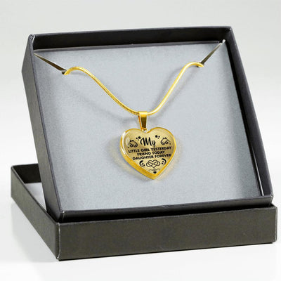 MY LITTLE GIRL YESTERDAY - FRIEND TODAY - DAUGHTER FOREVER - GOLD FINISHED HEART NECKLACE (BLACK ON TRANSPARENT) - podprintz.com