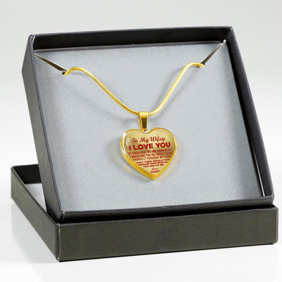 TO MY WIFEY - I LOVE YOU - (RED ON TRANSPARENT) - GOLD FINISHED HEART NECKLACE - podprintz.com