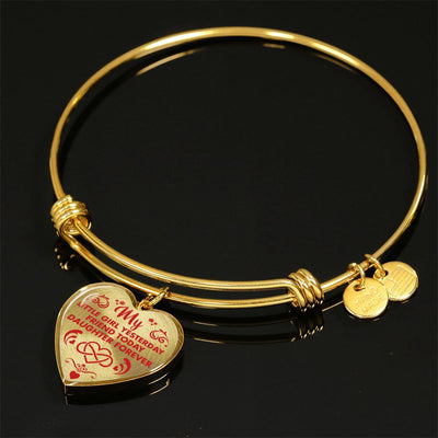 MY LITTLE GIRL YESTERDAY - FRIEND TODAY - DAUGHTER FOREVER - (RED ON TRANSPARENT) - GOLD FINISHED HEART BANGLE BRACELET - podprintz.com