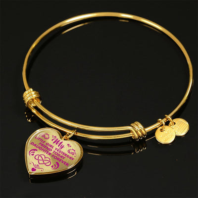 MY LITTLE GIRL YESTERDAY - FRIEND TODAY - DAUGHTER FOREVER - GOLD FINISHED HEART BANGLE BRACELET (HOT PINK ON TRANSPARENT) - podprintz.com