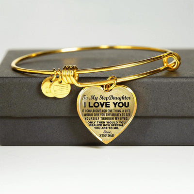 TO MY STEPDAUGHTER - I LOVE YOU - GOLD FINISHED HEART BANGLE BRACELET (BLACK ON TRANSPARENT) - podprintz.com