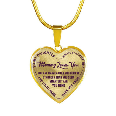MY DAUGHTER - MOMMY LOVES YOU - SILVER FINISHED HEART NECKLACE (PURPLE ON TRANSPARENT) - podprintz.com