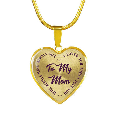 To My Mom Gold or Silver Finished Heart Shaped Necklace (Purple on Transparent) - podprintz.com