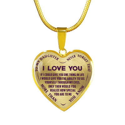 To My Daughter Never Forget I Love You (Bold Font) Purple on Transparent Silver or Gold Finished Necklace - podprintz.com