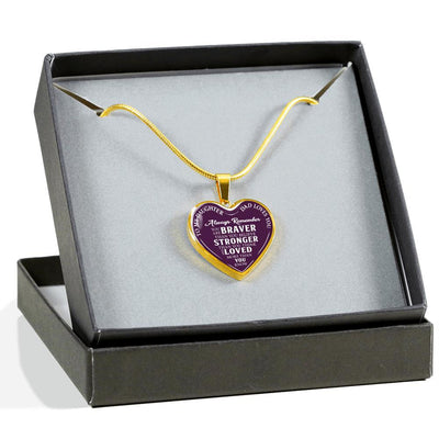 To Daughter Love Dad, Braver Stronger Loved Silver or Gold Finished Heart Shaped Necklace (White on Purple) - podprintz.com