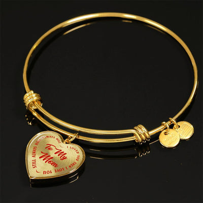 To My Mom Gold or Silver Finished Heart Shaped Bangle Bracelet (Red on Transparent) - podprintz.com