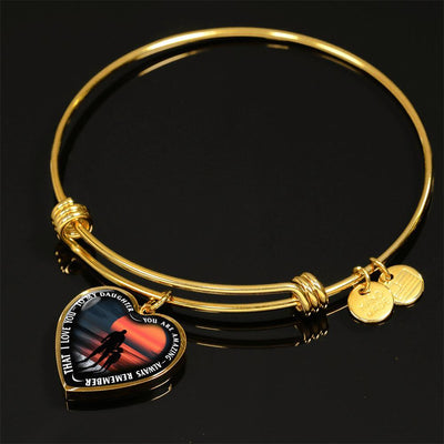 My Daughter, You are Amazing, Silver or Gold Finished Heart Shaped Bangle Bracelet (Pink Sunset Deck Edition) - podprintz.com