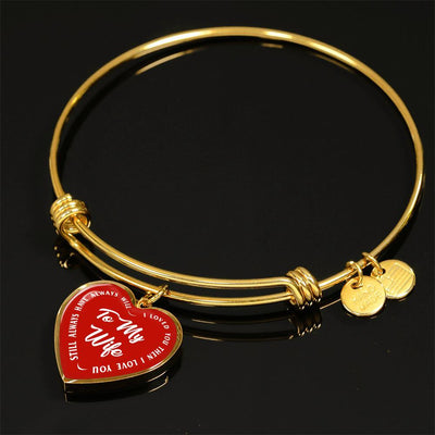 TO MY WIFE (WHITE TEXT ON RED) SILVER OR GOLD FINISHED HEART SHAPED BANGLE BRACELET - podprintz.com