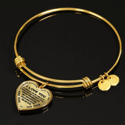 TO MY DAUGHTER - I LOVE YOU NEVER FORGET THAT- (BLACK ON TRANSPARENT) SILVER OR GOLD FINISHED HEART BANGLE BRACELET - podprintz.com