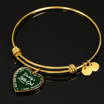 Daddy's Little Girl Gold or Silver Finished Heart Shaped Bangle Bracelet (White on Green) - podprintz.com