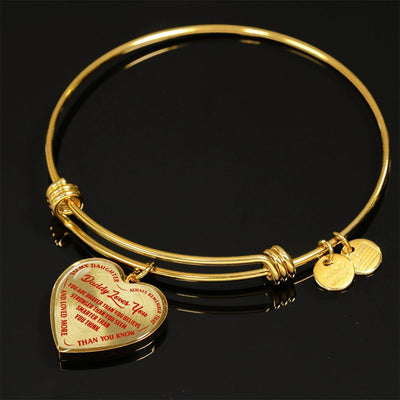 TO MY DAUGHTER - DADDY LOVES YOU - (RED ON TRANSPARENT) SILVER OR GOLD FINISHED HEART BANGLE BRACELET - podprintz.com